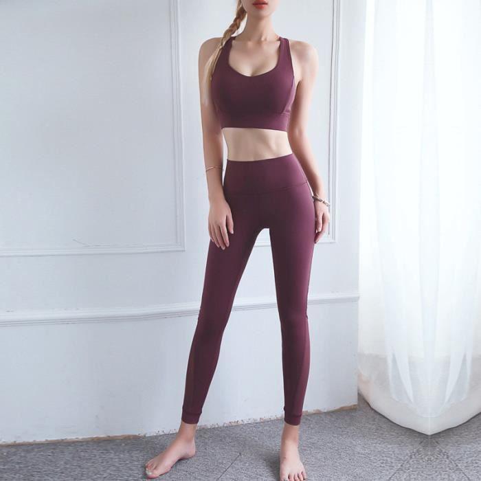 Brassiere De Sport femme - Brassiere De Sport 2 pièces taille haute sport Leggings - rouge ONE™