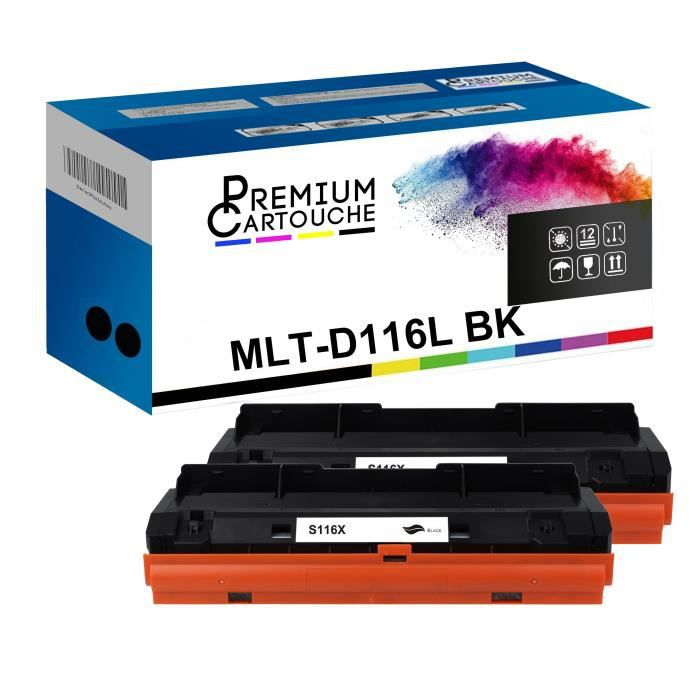 Toner MLT-D116L Noir x2 Compatible pour Samsung SL-M 2620 SL-M 2620 D SL-M 2620 ND SL-M 2620 SL-M 2625 SL-M 2625 D SL-M 2625 F SL-M
