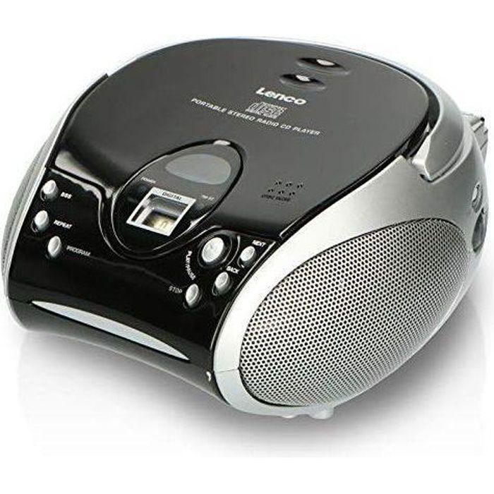 Lenco SCD-24 Boombox stéréo Portable avec Lecteur CD programmable et Radio FM Noir