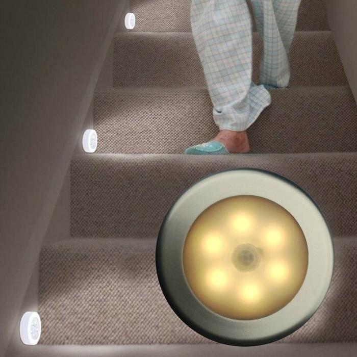 1 Pack Lampe Détecteur de Mouvement, Lampe de Placard, Alimenté par Batterie (non Inclus), pour Escalier, Placards - Blanc