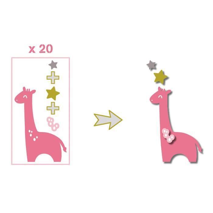TOGA Pack de 20 Formes découpées Girafes - Rose, vert et taupe