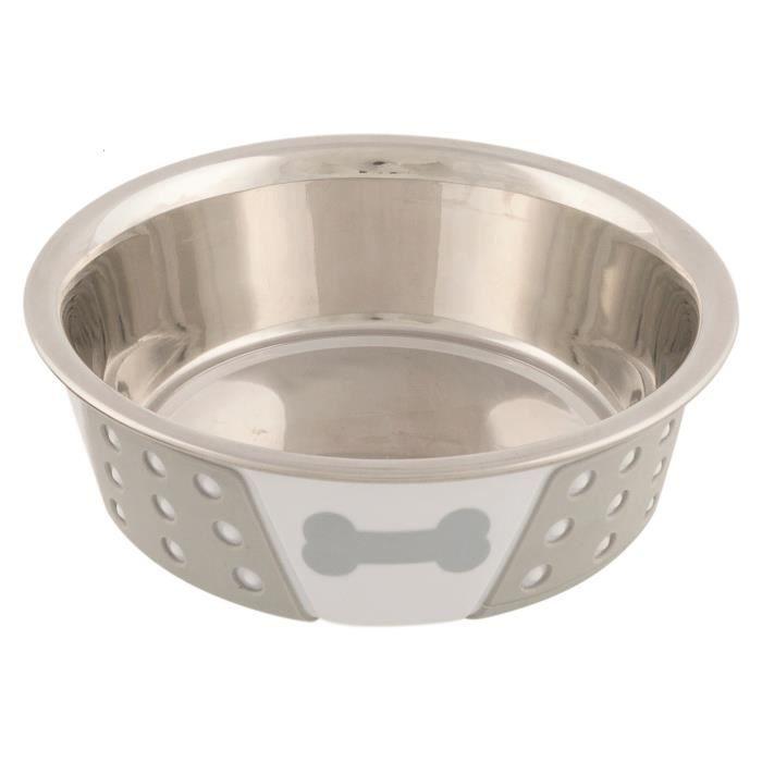 TRIXIE Ecuelle en acier inox - Blanc - Pour chien