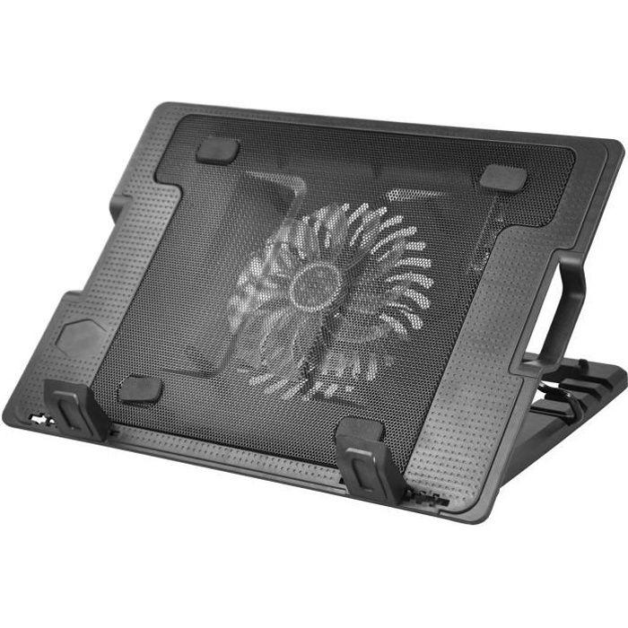 Support d'ordinateur portable avec 1 port USB et ventilateur de refroidissement LED ideal pour les écrans 9 et 17.