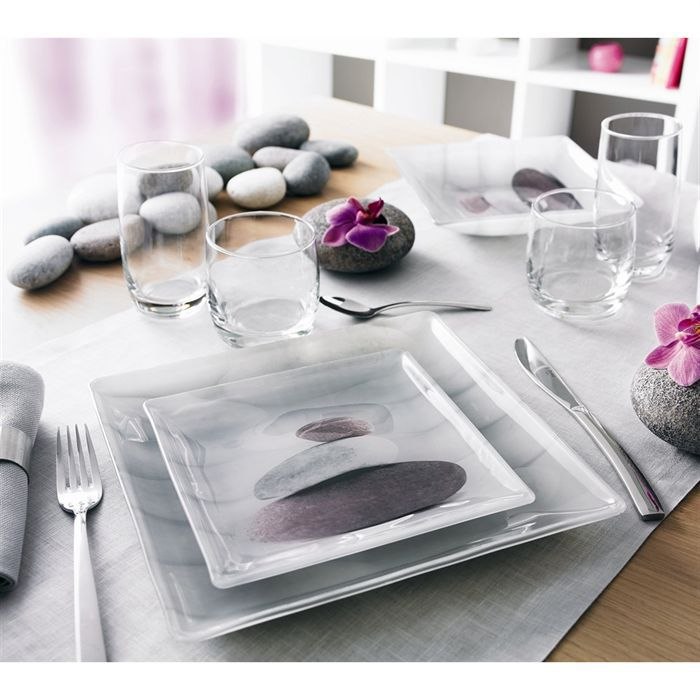 luminarc stones 6 assiettes plates 25 5 cm achat vente service complet cdiscount. Black Bedroom Furniture Sets. Home Design Ideas