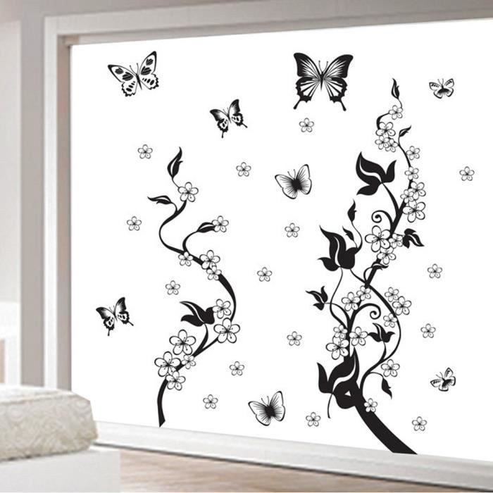 stickers mural vigne papillons achat vente stickers. Black Bedroom Furniture Sets. Home Design Ideas