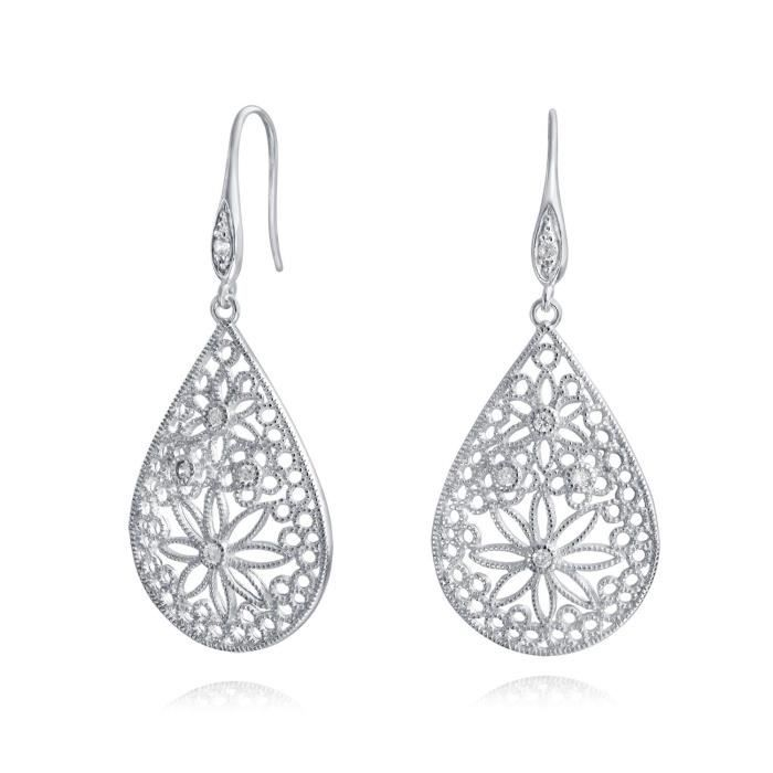 Argent 925 Bling Jewelry CZ Ouvert Accent fleurs Daisy Teardrop Earrings
