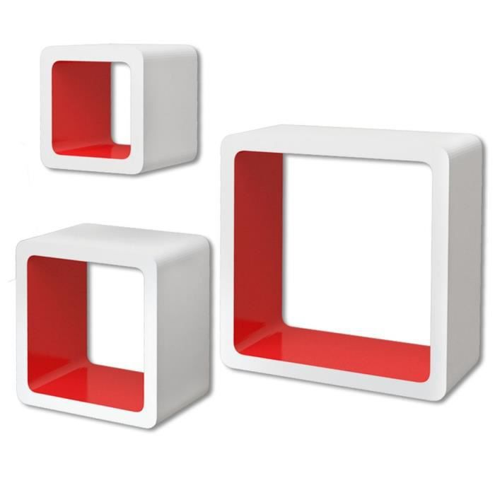 magnifique 3 etageres cubes murales et en mdf blanc rouge. Black Bedroom Furniture Sets. Home Design Ideas