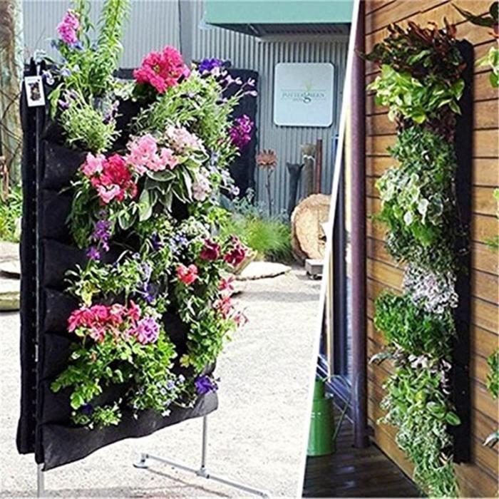 18 Poches verte Murale Pot De Fleurs Feutre Jardin Planter Vertical Mural  Fleurs Sac Cultiver Sac