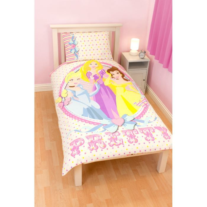 parure de lit medaillon princesse disney blanc achat. Black Bedroom Furniture Sets. Home Design Ideas