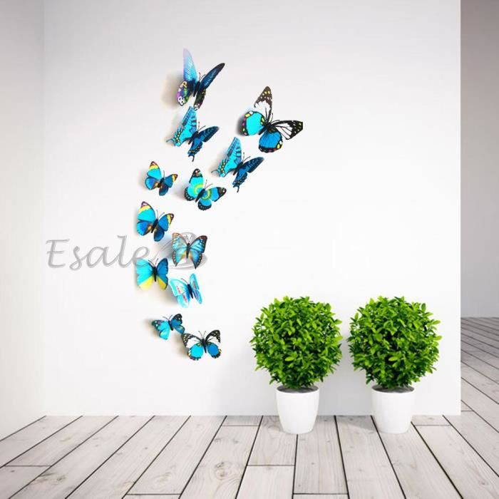 12x sticker mural autocollant papillon 3d aimant for Auto collant mural
