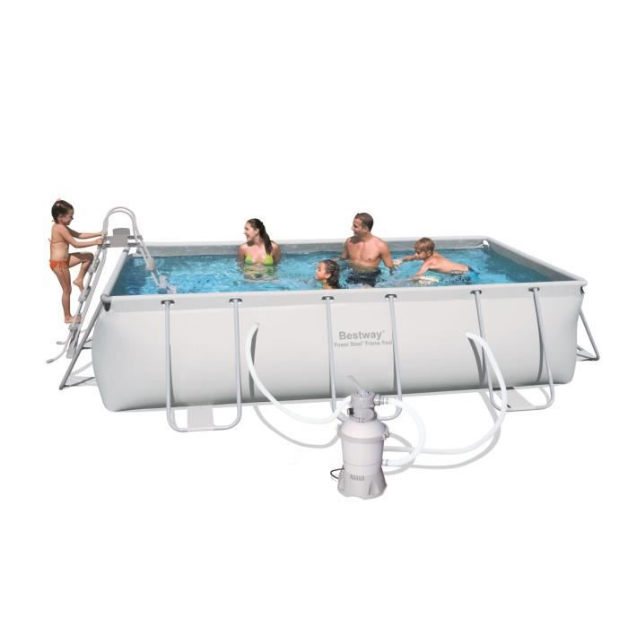 Bestway kit piscine tubulaire rectangulaire power steel for Piscine tubulaire bestway