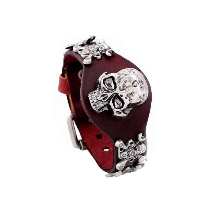 BRACELET - GOURMETTE Bracelet Punk Skull Bracelet En Faux Cuir Bracelet