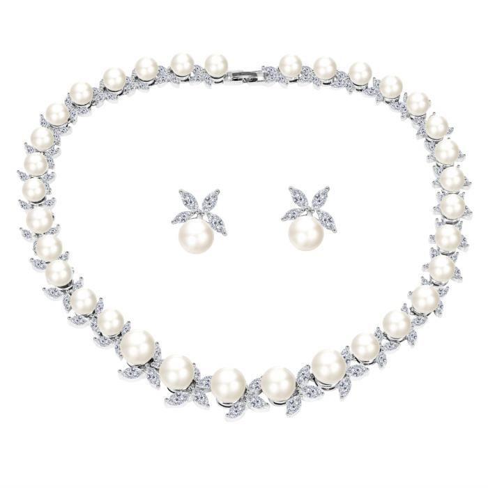 BiBeary Zircon CZ elegant Mariage V-Shape Full Pendant Neck Feuille Collier Boucles doreilles Parures pour Femme silver-tone