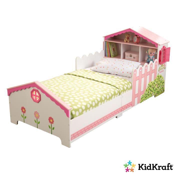 marron à rayures /& motif rose-Maison de Poupées meubles chambre à coucher Modèle lit double