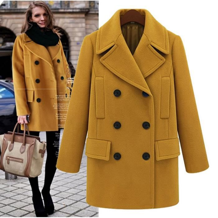 manteau femme grande taille veste femme de lain jaune achat vente manteau caban cdiscount. Black Bedroom Furniture Sets. Home Design Ideas