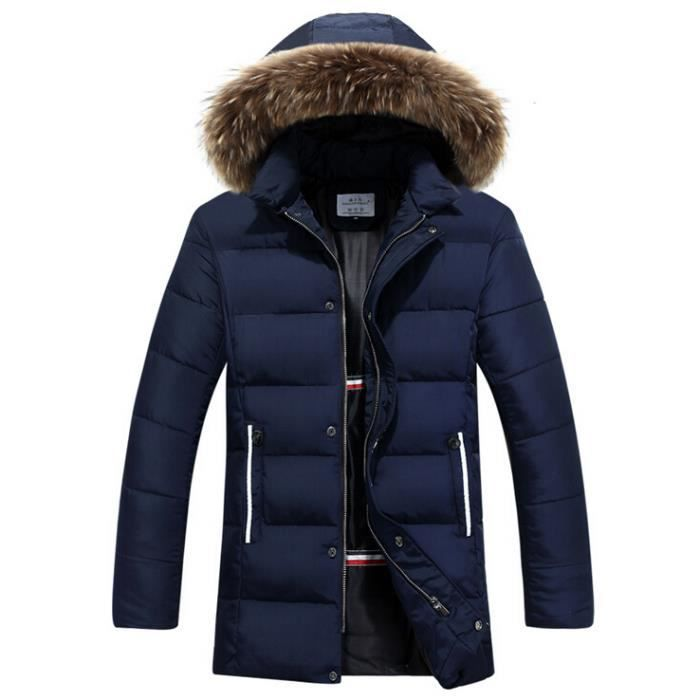 homme manteau capuche fourrure parka bleu bleu achat. Black Bedroom Furniture Sets. Home Design Ideas