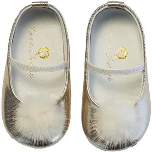 Chaussures en cuir RPC 003 18 Shiney Pom Pom Gold