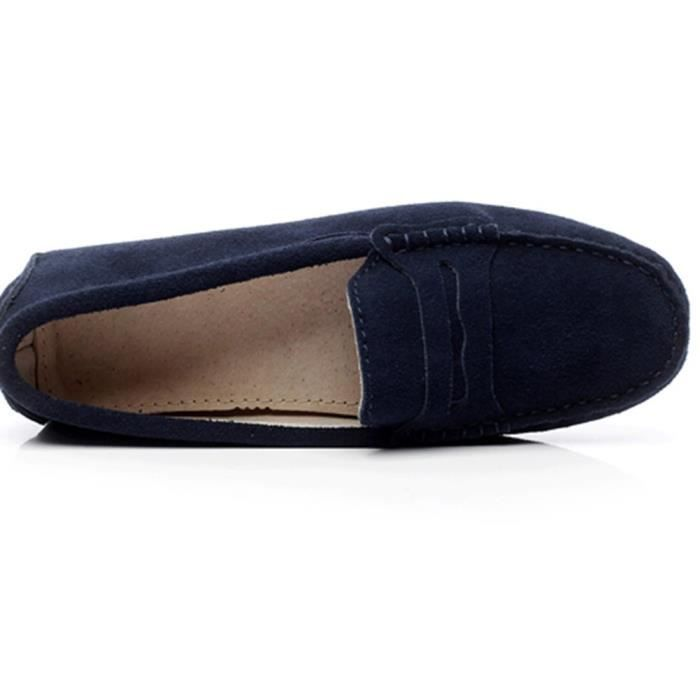Classic Suede Driving Loafers Shoes Soft Leather Moccasin Slippers XR3FK Taille-36 1-2