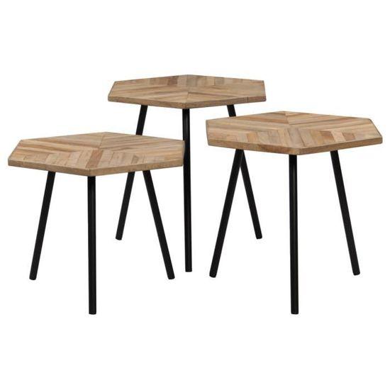 vidaXL Ensemble de Table Basse 2 pcs Hexagonal Teck Recycl/é Meuble de Salon