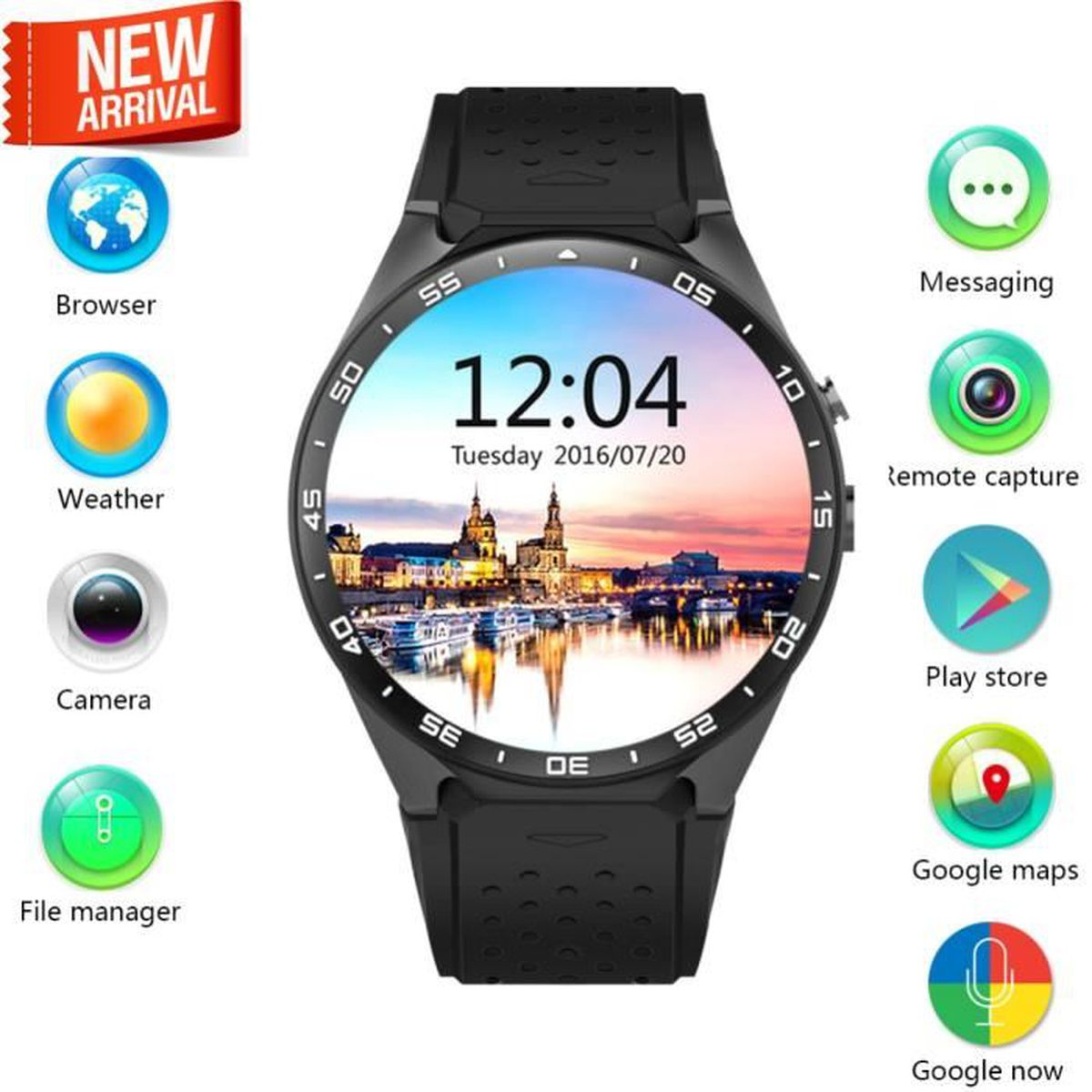 aihontai kw88 android 5 1 os 3g smart watch t l phone cellulaire 2 0mp cam ra bluetooth carte. Black Bedroom Furniture Sets. Home Design Ideas