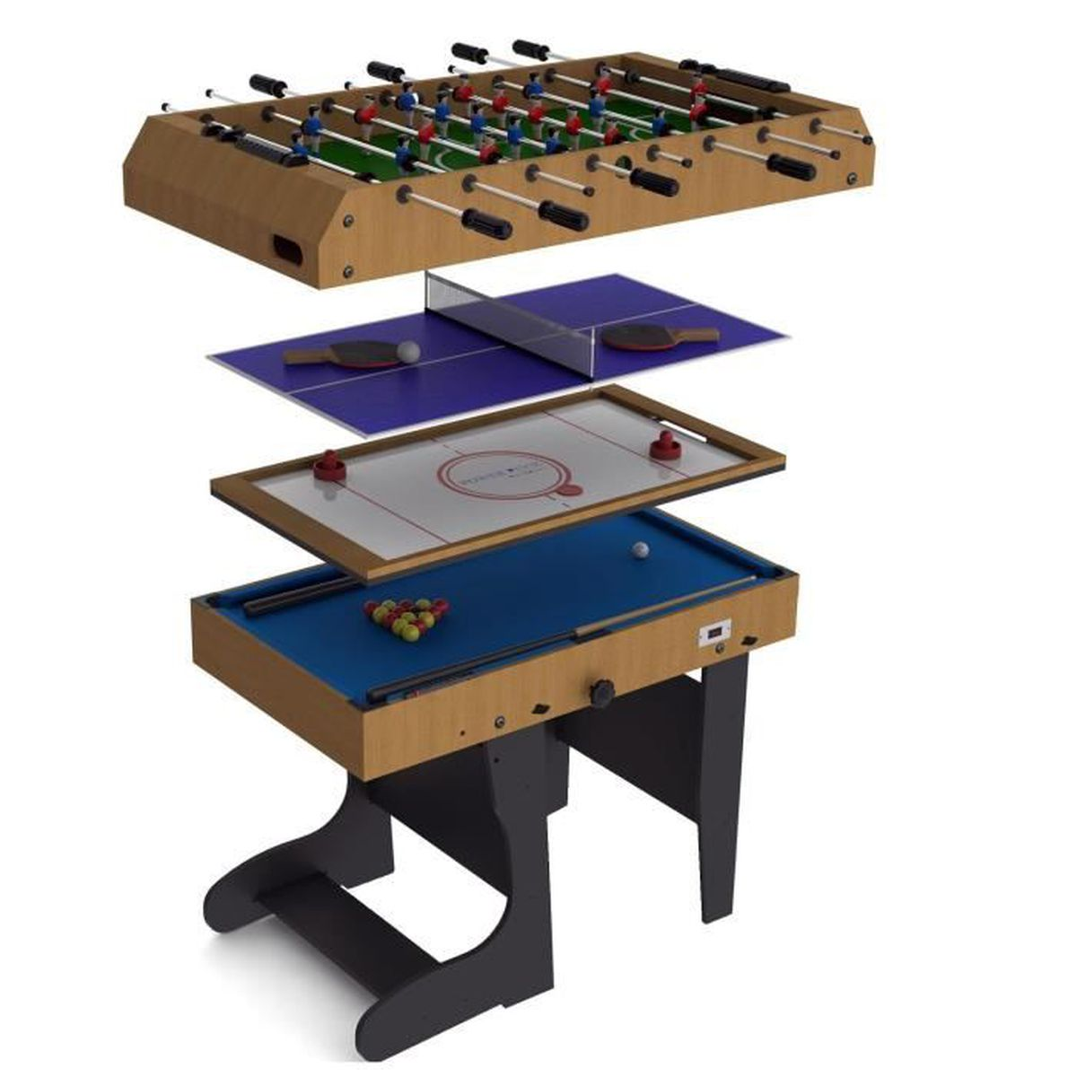Riley table de jeu pliable 4 en 1 12 jeux int gr s for Table 4 en 1 intersport
