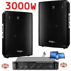 PACK SONO PACK SONO 4400W ENCEINTES + AMPLI + CÂBLE PACK DJ