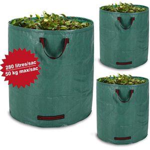 SAC À DÉCHETS VERTS  3 sacs à déchets de jardin 280L 50kg - Feuilles dé