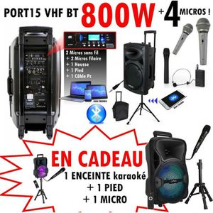 PACK SONO PORT 15 VHF BT ibiza + 1 PIED + 1 CÂBLE PC + 1 HOU