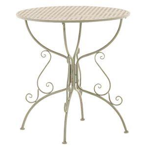 TABLE DE JARDIN  Table de jardin ronde en fer forgé coloris vert an