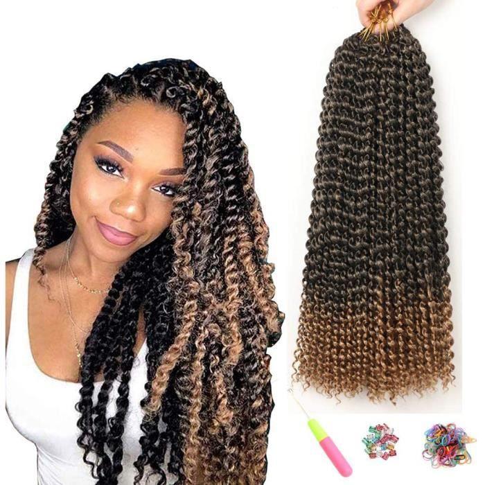 7 Packs Passion Twist Cheveux 18 Pouces Crochet Tresses pour Passion Twist Crochet Cheveux Vague Eau ShowJarlly Passion Twist[5069]