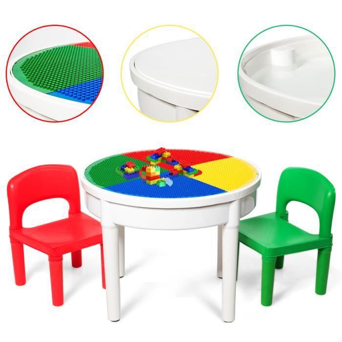 DREAMADE 3 en 1 Table de Construction pour Enfant, Ensemble Table de Bloc avec 300 Blocs &Espace de Stockage