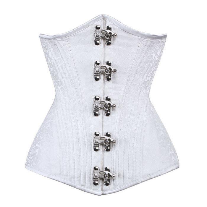 Serre taille corset floral brocart blanc élégant gothique chic, baleines en métal 264 S Blanc