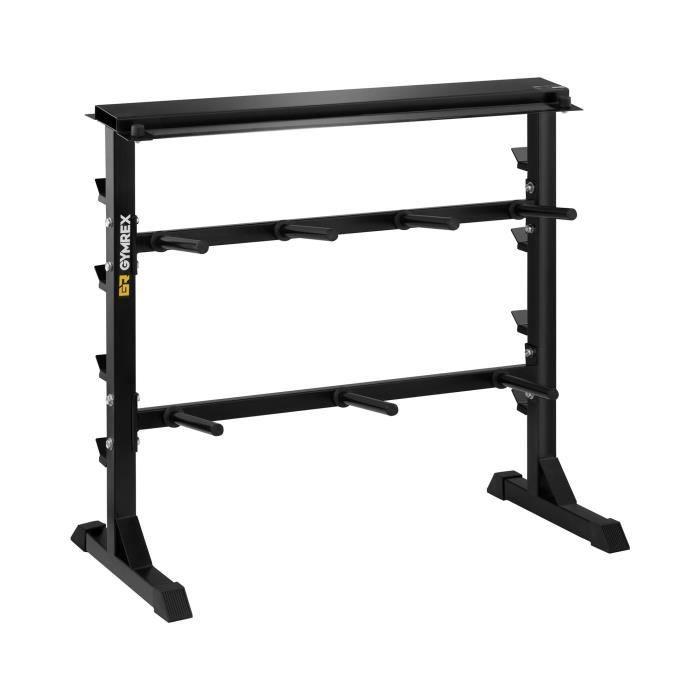 Support Pour Poids De Musculation Rack Rangement Barre Haltère Disque Gymrex GR-PL350 (3 Niveaux, 11 Branches, Acier, Argent, 350kg)