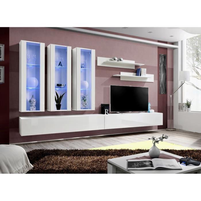 PRICE FACTORY - Meuble TV FLY E3 design, coloris blanc brillant. Meuble suspendu moderne et tendance pour votre salon.