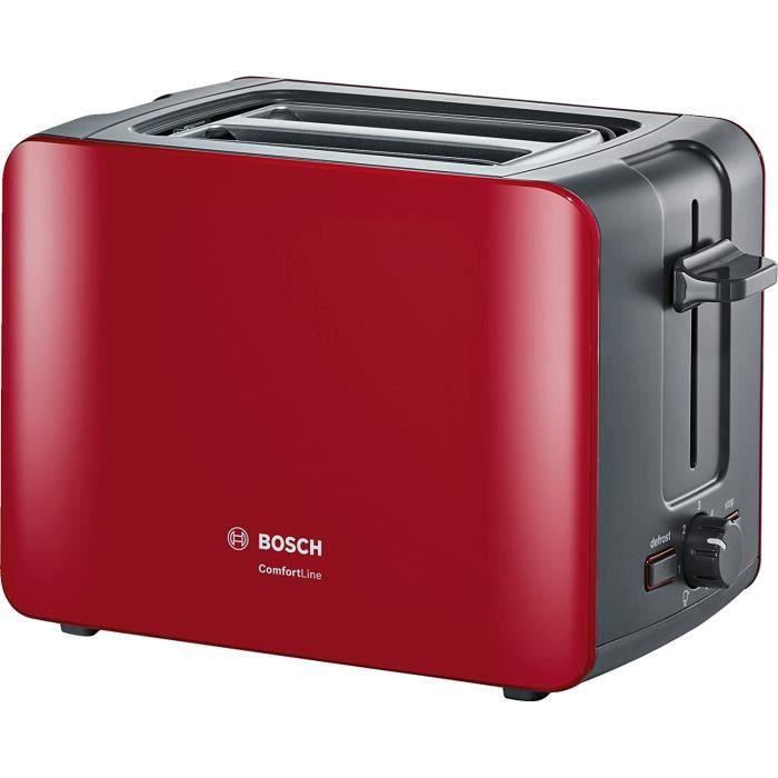 Bosch TAT6A114 Grille-Pain Compact Comfort Line Fonction de Centrage Automatique 1090 W, Rouge/Anthracite