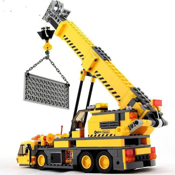 Blocs de construction de modèle de grue 3D assemblant des jouets de bloc de construction de bricolage