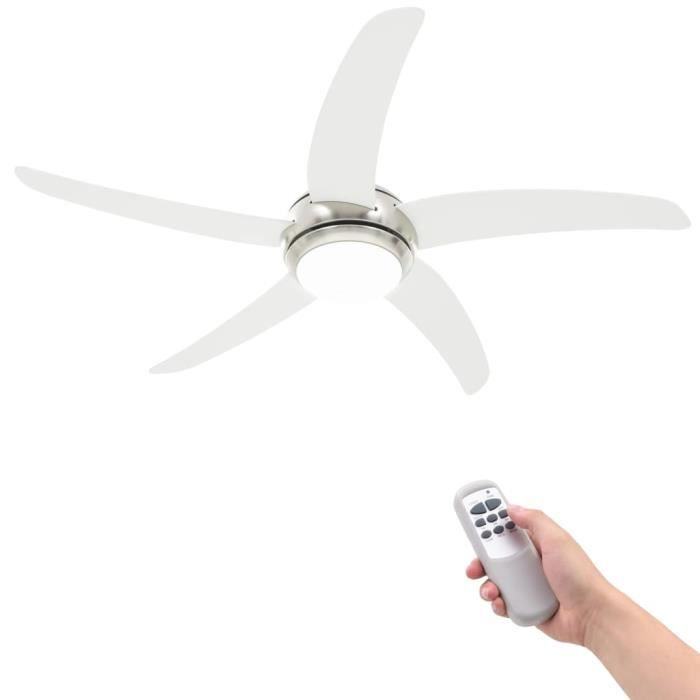 vidaXL Ventilateur de plafond orné avec lampe 128 cm Blanc --FOE
