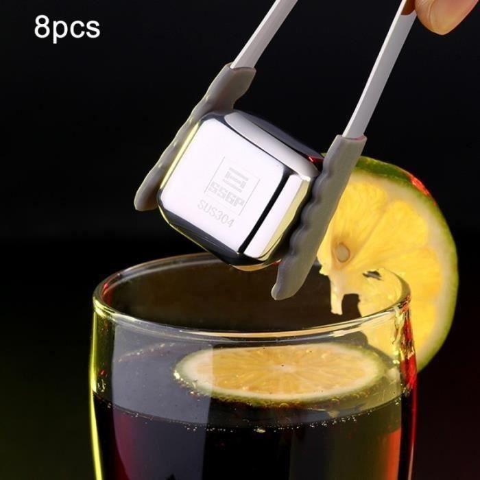 Bac à glaçon 8 PCS en acier inoxydable Chilling cubes de glace réutilisables le whisky la vodka Liqueurs