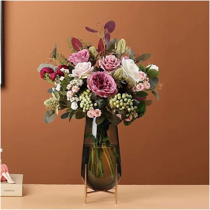 PLANTE ARTIFICIELLE jixi Bouquet de fleurs artificielles r&eacutetro haut de gamme, arrangements de fleurs s&eacutech&eacutee1010