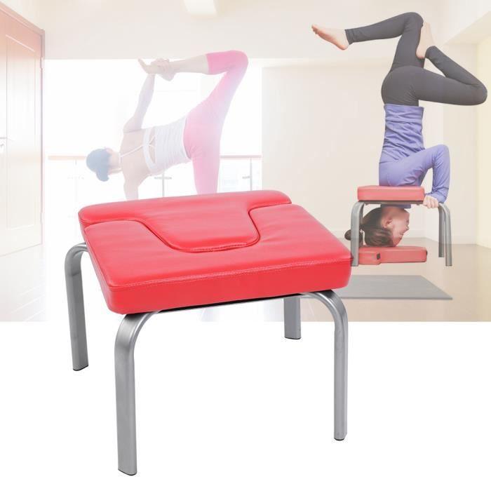 Yoga Yoga Tabouret, Banc Yoga d'Inversion Chaise de Fitness avec Coussin Confortable pour Domicile ou Gymnastique- Rouge