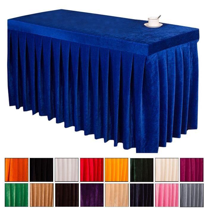 BIGOOD Couleur Uni Jupe de Table Simple Rectangle Nappe pour Bureau Banquet Bleu Roi 120*60*75cm