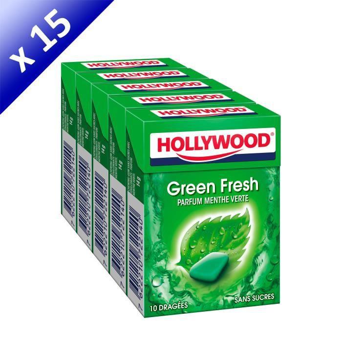 [LOT DE 15] Hollywood GreenFresh chewing-gum menthe sans sucres 70g