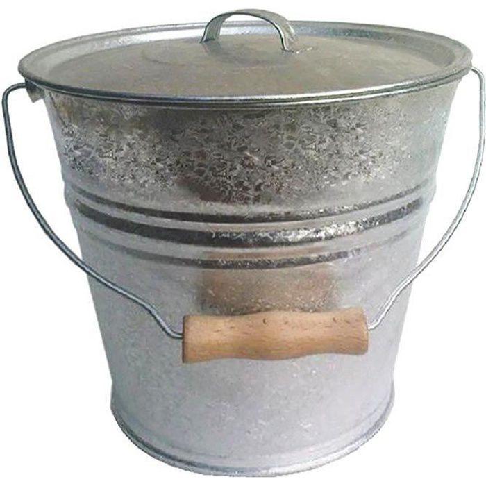 Seau cendres granulés ou compost avec couvercle 10 litres Gris
