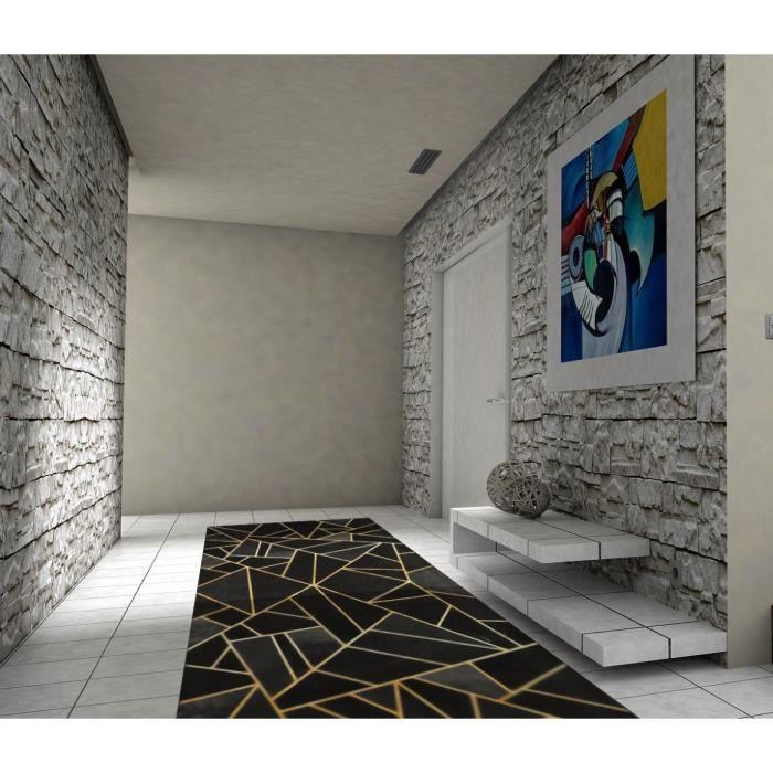 Tapis Moderne Noir / Jaune Doré 50x80cm