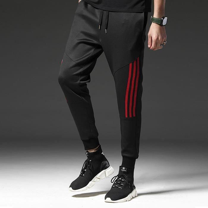 Pantalons Hommes Décontracté De Printemps Hip Hop De Jogging Rayures Mâle En Coton Sportswear Droits