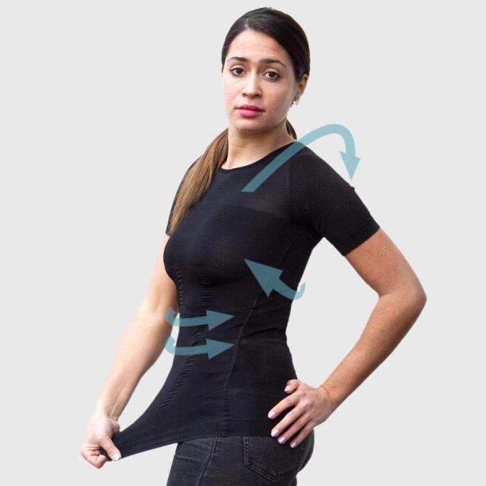 T-shirt Noir Femme Correcteur de Posture - Anti Mal de Dos - Compression - Maillot de Corps Manches Courtes