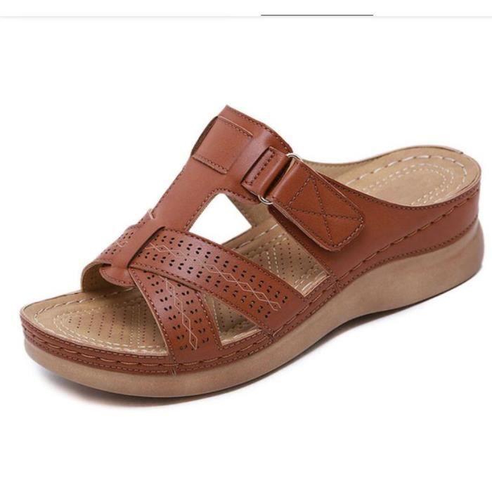 Sandales orthopédiques à bout ouvert pour femmes Brun