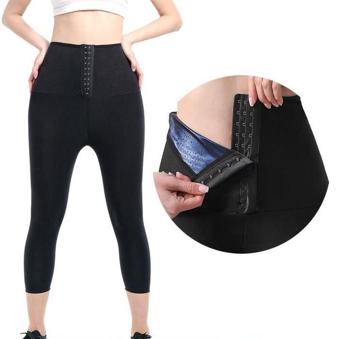 Sauna Sweat Shapewear Short Taille Haute pour Femme Perte Poids Pantalon, Contrôle du Ventre Shapewear - Noir