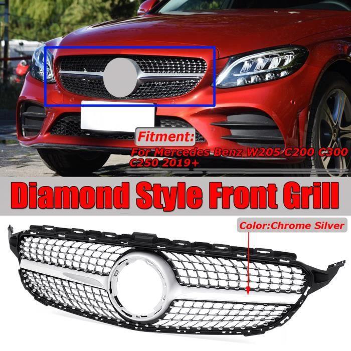 NEUFU Grille Chrome Argent Avant Centrale Pare Chocs Pour Mercedes Benz W205 C200 C300 C250 2019+