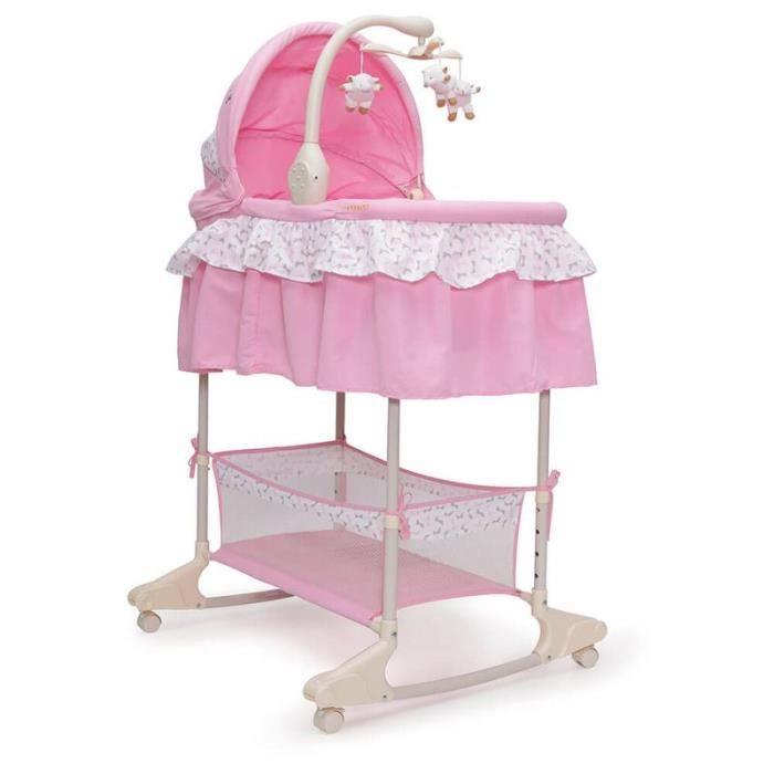 Moni berceau pour bébé lit de balcon Sieste fonction musique vibration veilleuse [rose]